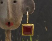 Carnelian Earring , 24k Gold  & Square Carnelian Earrings