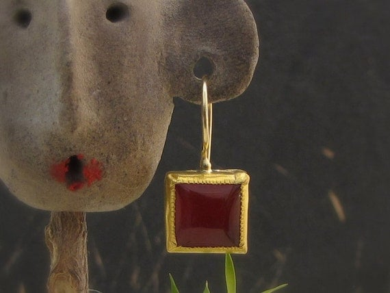 Carnelian Earring , 24k Gold  & Square Carnelian Earrings