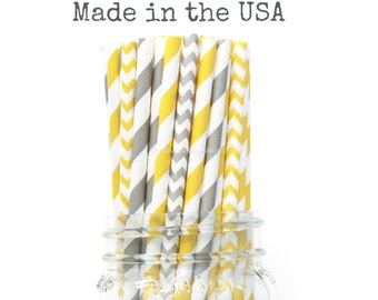 Paper Straws, Grey Paper Straws, Yellow Straws, Chevron Stripe, Grey Wedding Baby Shower Kids Birthday Party Wedding Table Setting, USA