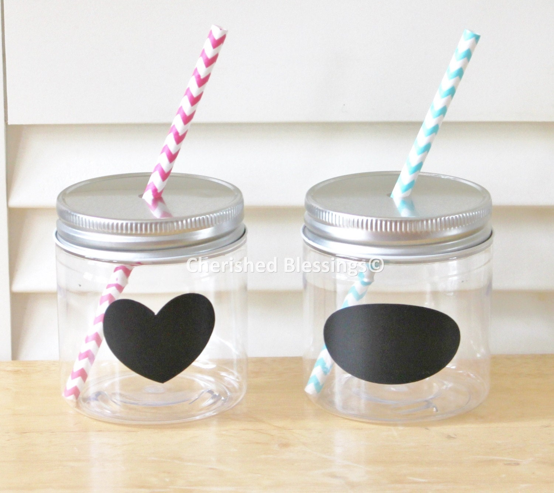 20 plastic mason jars mason jar lids with straw hole. Black Bedroom Furniture Sets. Home Design Ideas