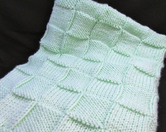 Mint green Hand knitted baby blanket, also in a variety of colors.