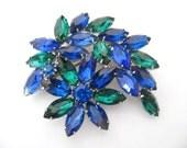 Vintage Rhinestone Brooch - Book Piece - Blue and Green Rhinestone Flower Brooch