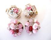 Vintage JAPAN Pink Glass Bead Cluster Earrings 2 Pairs