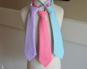 Boys mini gingham neck tie hot pink, aqua, & lavender great for birthdays, weddings, and Easter custom made by Baby Harrill