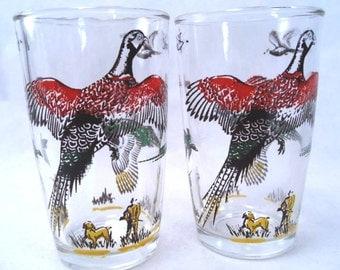 Pheasant Game Bird Decal Small Glass Tumbler Set of 2 Hocking Vintage 60s