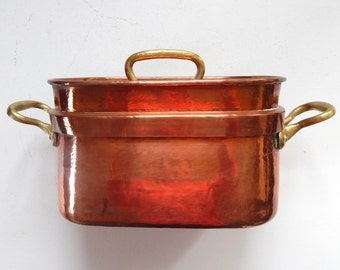 Large Antique French Copper Daubiere or Stew Pot
