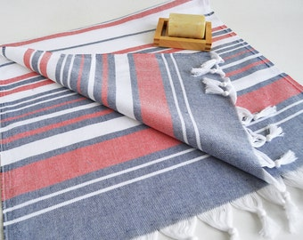 NEW Design SET 2 Head and Hand Towel Peshkir - Navy blue - White - Red - Beach, Swim, Pool Towels