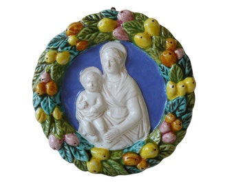 Italian Majolica Madonna & Child Della Robbia Wall Plaque Made in Italy