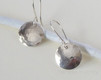 Sterling Silver Disc Earrings, Hammered Argentium Silver Earrings, Small Dangle Earrings