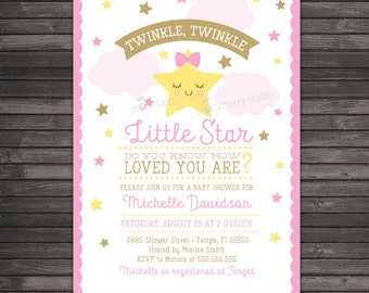 Twinkle Twinkle Little Star Baby Shower Invitation Printable - Girl Baby Shower Invite - Pink and Gold Baby Shower - Twinkle Star Party