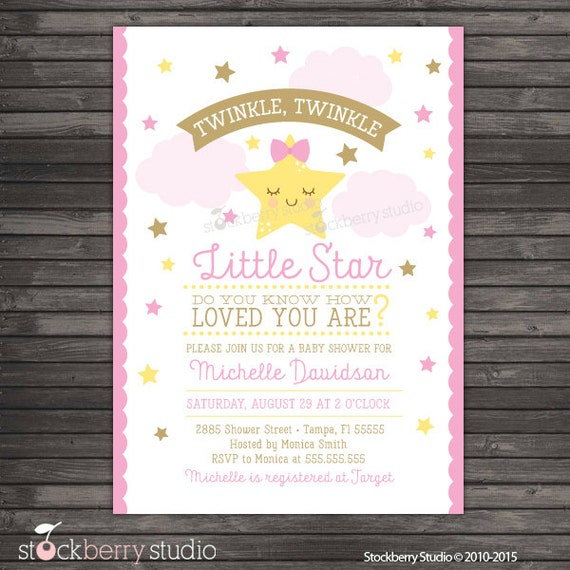 Twinkle Twinkle Little Star Baby Shower Invitation Printable