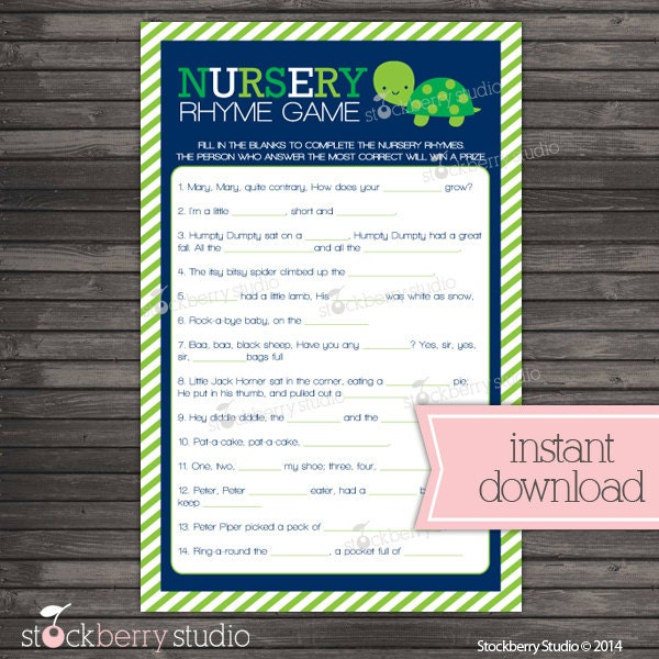 turtle baby shower nursery rhyme game boy by stockberrystudio