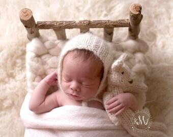 Newborn Alpaca Bonnet | Newborn Knit Lace Bonnet | Newborn Lace Photo Prop | Newborn Knit Bonnet | Pixie Bonnet