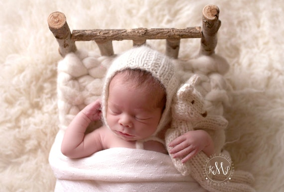 Newborn Alpaca Bonnet | Newborn Knit Lace Bonnet | Newborn Lace Photo Prop | Newborn Knit Bonnet | Pixie Bonnet