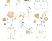 Watercolor Mason Jars Clipart,  Flowers clip art , personal & commercial usage