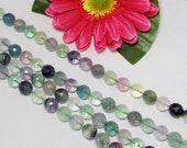 Fluorite 10mm round micro faceted Loose Beads