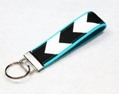 Fabric Key Fob, Key Chain, Key Ring, Key Holder, Wristlet Key Fob, Wristlet Keychain, Fabric Key fobs-Black Chevron on Blue Teal