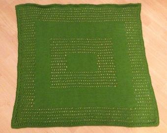 Hand Knit Eyelet Baby Blanket