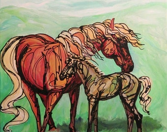 Print of Mare and Foal equine art horse animal portrait
