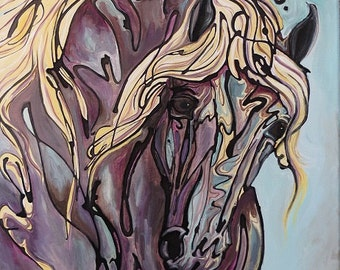 Print of Spun Gold equine art horse ink painting