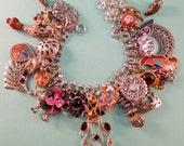 Boho Beauty Repurposed Vintage Jewelry Charm Bracelet One of a Kind