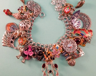 Boho Beauty Repurposed Vintage Jewelry Charm Bracelet One of a Kind