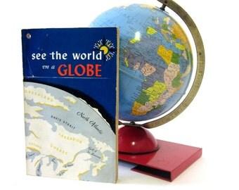 Vintage World Globe Retro c1950 Tin Litho Toy with Original Booklet