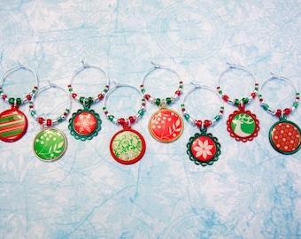 Christmas Wine Charms - Set of 8 Holiday Wine Glass Charms