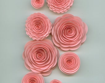 Light Pink Handmade Spiral Paper Flowers