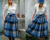 Full Voluminous Mi-Long Vintage Street Style Skirt with Pockets - Blue / Grey