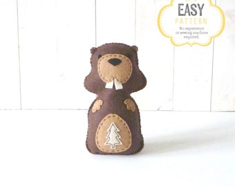 Beaver Stuffed Animal Pattern, Felt Beaver Hand Sewing Pattern, Easy Stuffed Animal Pattern