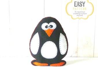 Stuffed Penguin Pattern, Felt Penguin Pattern, Plush Penguin Sewing Pattern, Penguin Softie, Penguin Plushie