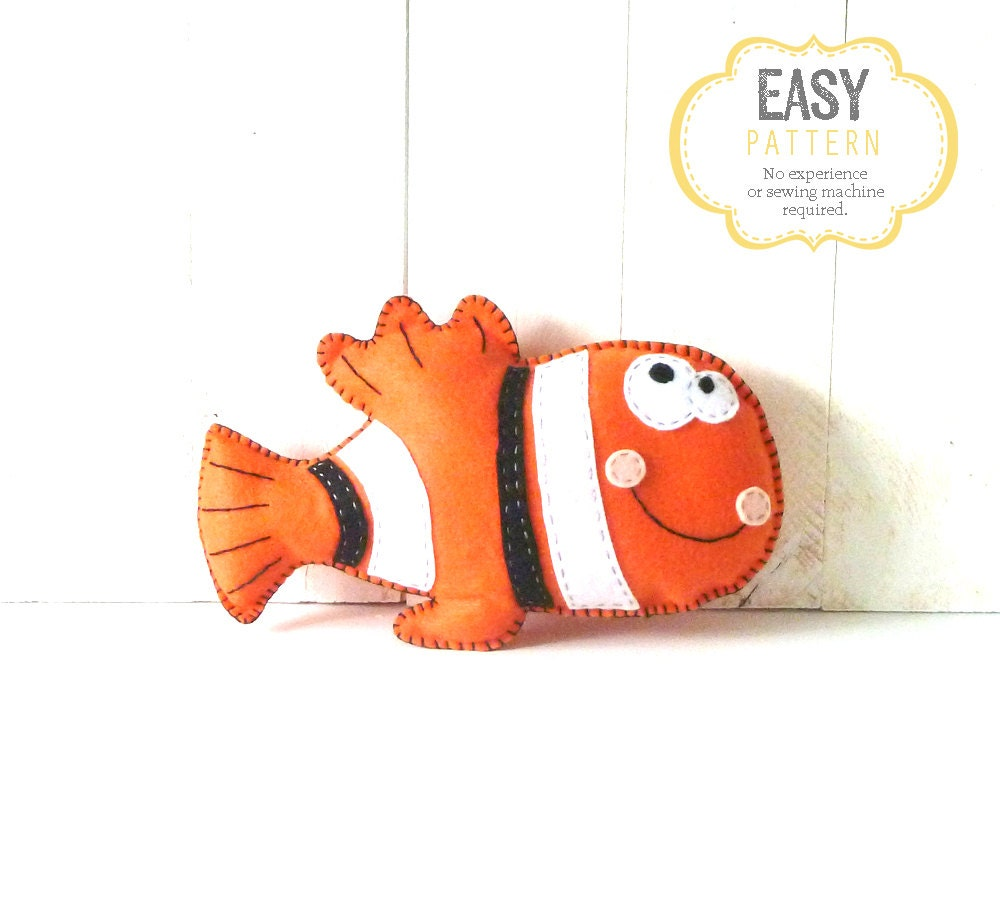 Clown fish stuffed animal pattern hand sewing pattern felt for Fish stuffed animal