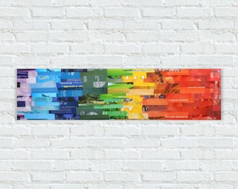 Panoramic (8 x 32 - Upcycled Magazine Collage)
