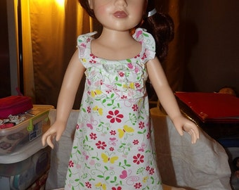 Ruffled floral sundress for 18 inch Dolls - ag242