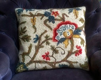 Jacobean Hand Hooked Rug Pillow