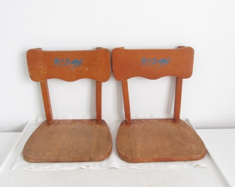 Vintage Childs Chair - Boat Seats - Stadium Seats - Wood Shelving