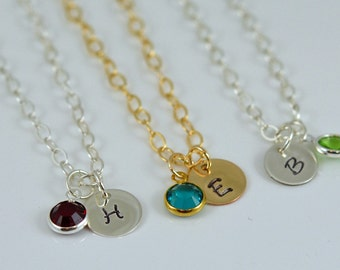 Initial Necklace Personalized Necklace - Hand Stamped Gold Charm Necklace Sterling Silver Birthstone Charm Mother's Necklace Letter Charm