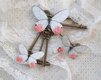 Butterflies, Scrapbooking, Mixed Media, Shabby Chic, Tag Art, Home Decor, Pink Glasswing, Set of 3