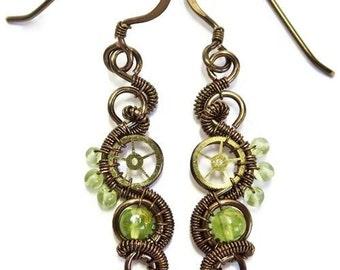 Peridot & Bronze Woven Steampunk Earrings - Steampunk Jewelry