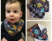 Bandana Bib in Monster Mash Printed Cotton, Dribble Bib, Baby Boy
