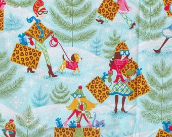 Retro 1960s Christmas Fabric Shopping Snow au Go Go Daisy Kingdom Yardage