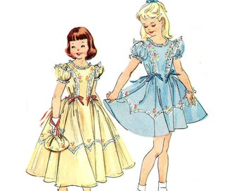 Vintage 1950s Girls Party Dress Pattern Uncut Bust 26 Size 8 McCalls 1954 Flower Girl Handbag