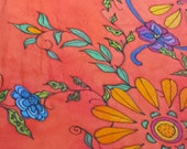 SOLD Silk scarf/handpainted/Mexican flowers! Olè! Spicy! Vibrant!