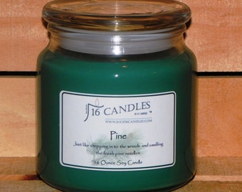 Pine Soy Candle/16 Ounce Jar/ Soy Candle/110 Burn Time/Woodsy Scented Candle/Fragrant Soy Candles/Scented Soy Candle/Soy Candle