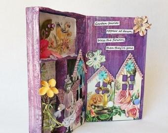 Garden Fairy Shadowbox Art Mixed Media Assemblage, 3d Original Handmade Shadowbox Artwork
