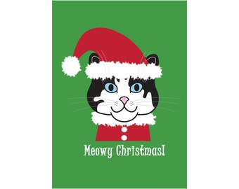 Meowy Christmas cat card, Santa kitty, red, green, smiling cat, kitty elf, pussy cat xmas card, holiday greetings, cat lover, chat, gato