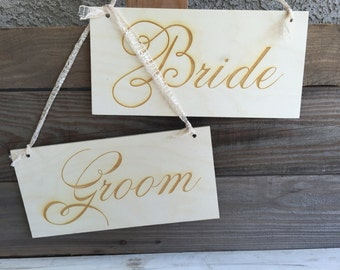 Bride Groom Wedding Chair Signs - Set of 2 - personalized gift weddings birthday engraved