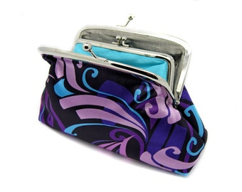 Silk Kiss Lock Wallet Clutch Coin Purse Silver Metal Double Frame Gift for Christmas Turquoise Silk Grey Purple Pink Blue