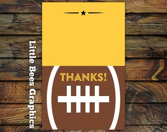 10 Tailgate Football Thank you Cards -- Folded Thank you Cards for Baby Shower or Birthday
